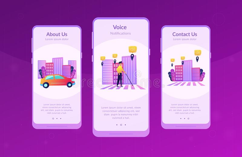 Barrier-free environment and smart city app interface template. A blind man crossing the street with smart tags and voice notifications around. Barrier-free royalty free illustration