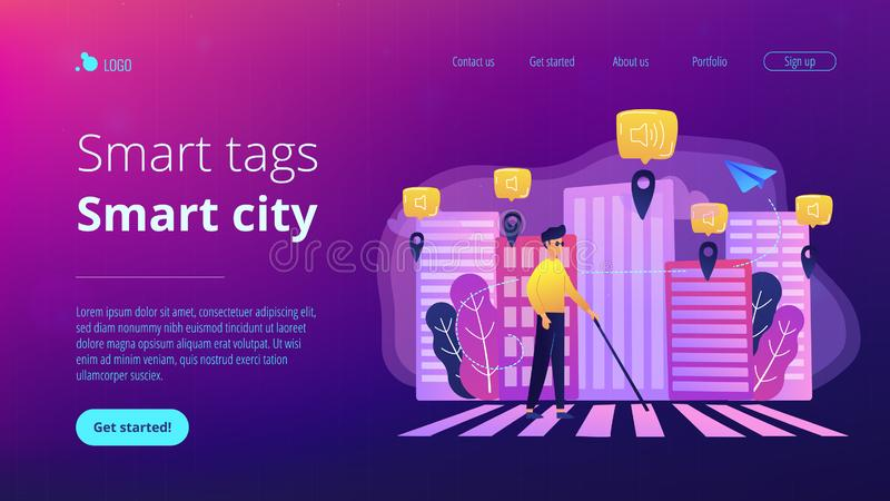 Barrier-free environment and smart city concept illustration. A blind man crossing the street with smart tags and voice notifications around. Barrier-free vector illustration