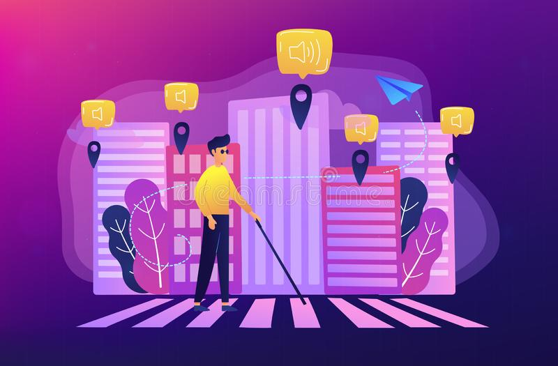 Barrier-free environment and smart city concept illustration. A blind man crossing the street with smart tags and voice notifications around. Barrier-free stock illustration