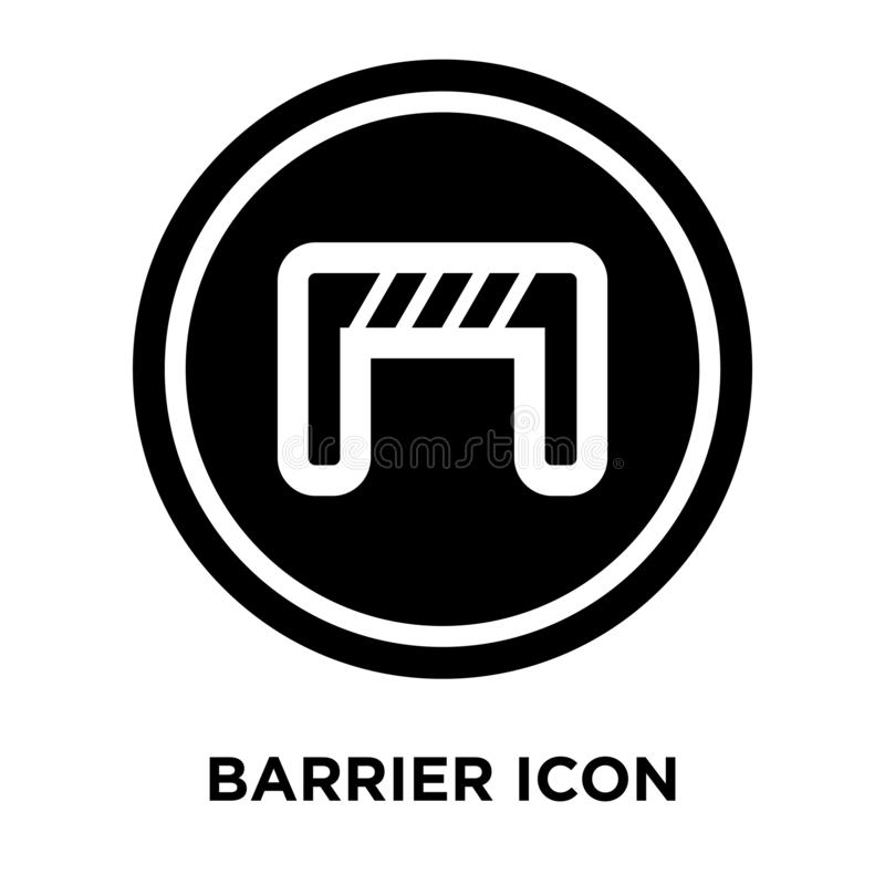 Barrier icon vector isolated on white background, logo concept o. F Barrier sign on transparent background, filled black symbol royalty free illustration