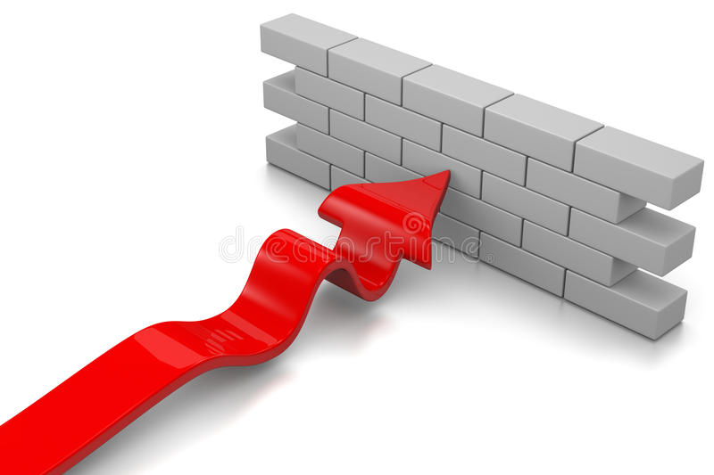 Barrier. Red Arrow Stopped by a Wall on White Background 3D Illustration royalty free illustration