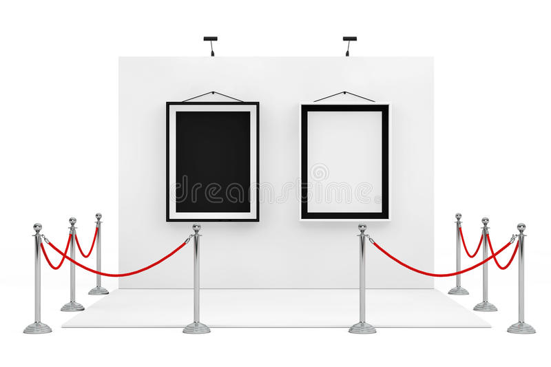 Barrier Rope Around Trade Show Booth with Black and White Picture Frames. 3d Rendering royalty free illustration