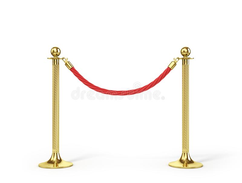 Barrier rope isolated on white. Gold fence. Luxury, VIP concept. Equipment for events. 3d illustration stock illustration