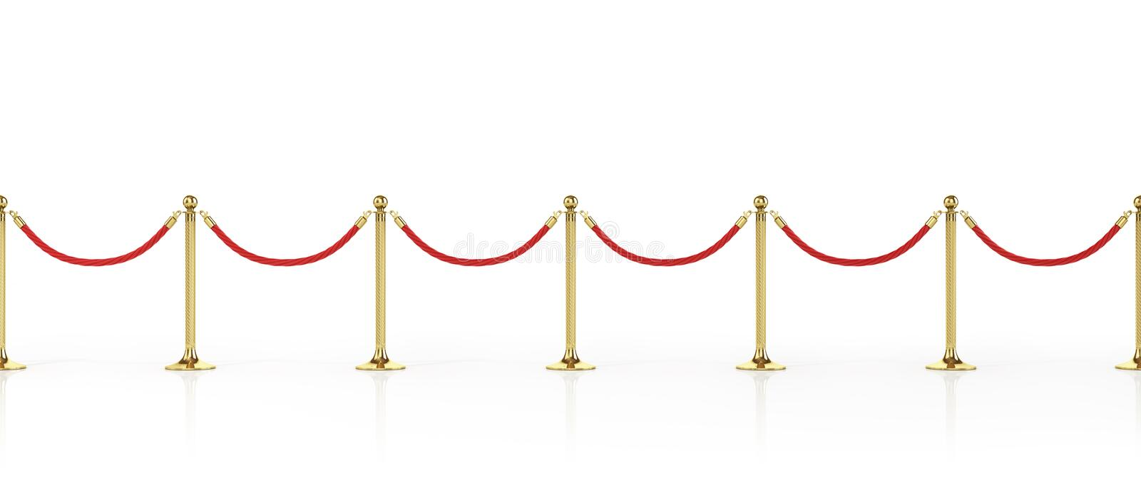 Barrier rope isolated on white. Gold fence. Luxury, VIP concept. Equipment for events. 3d illustration royalty free illustration