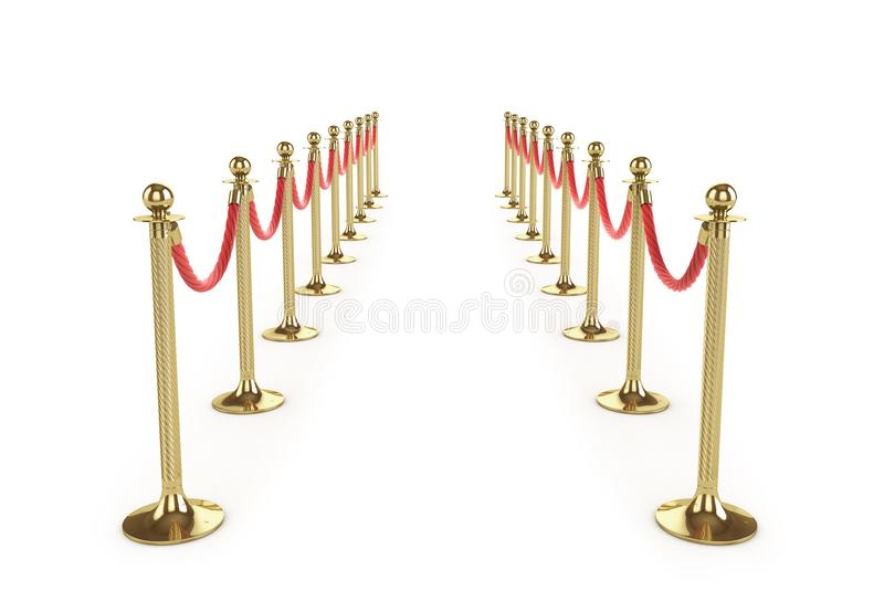 Barrier rope isolated on white. Gold fence. Luxury, VIP concept. Equipment for events. 3d illustration vector illustration