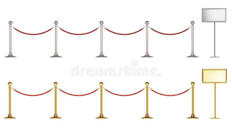 Barrier Rope And Notice Board Stock Images
