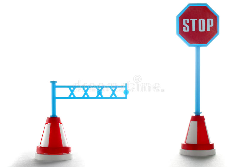 Barrier With Stop Road Sign Stock Photo