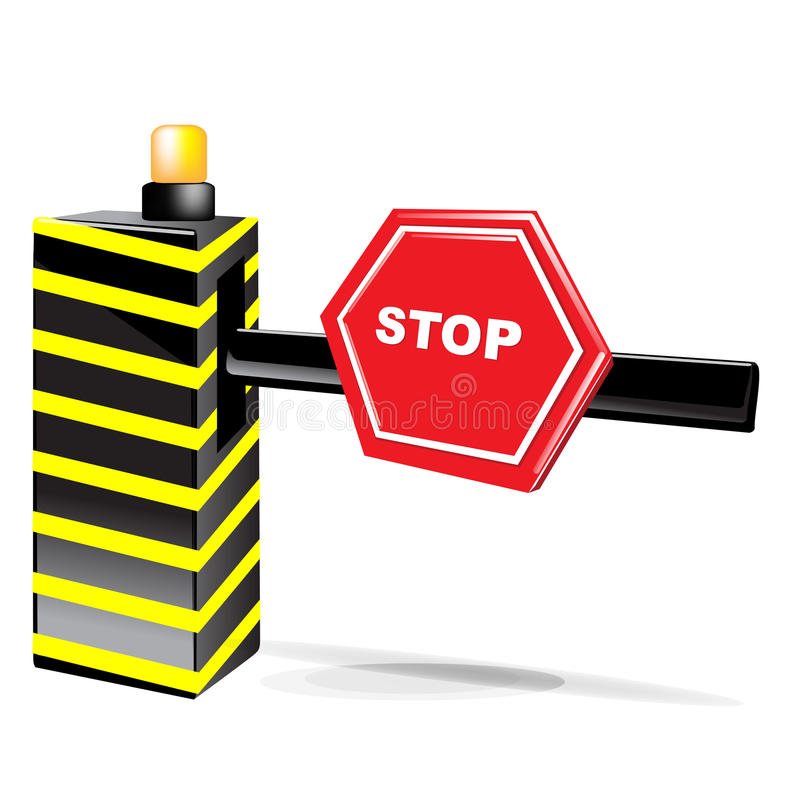 Barrier With Stop Sign Isolated Royalty Free Stock Photography