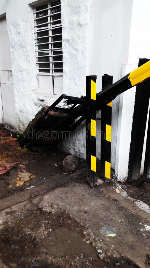 Barrier weighted side image on gate stock photo