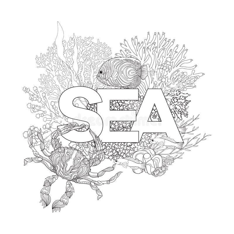 Barriera corallina con i coralli ed il pesce ed il mare di parola illustrazione di stock