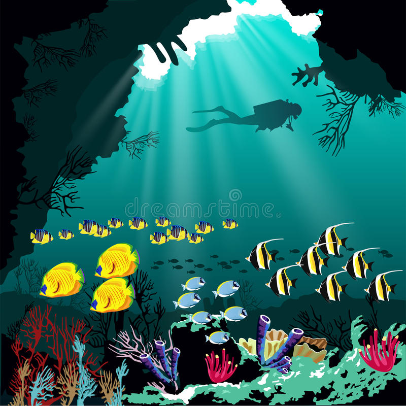 Barriera corallina con le varie specie di pesce e la siluetta dell'operatore subacqueo sopra il fondo blu del mare royalty illustrazione gratis