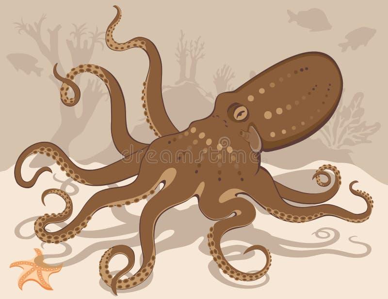 Barriera corallina delle stelle marine del polipo royalty illustrazione gratis