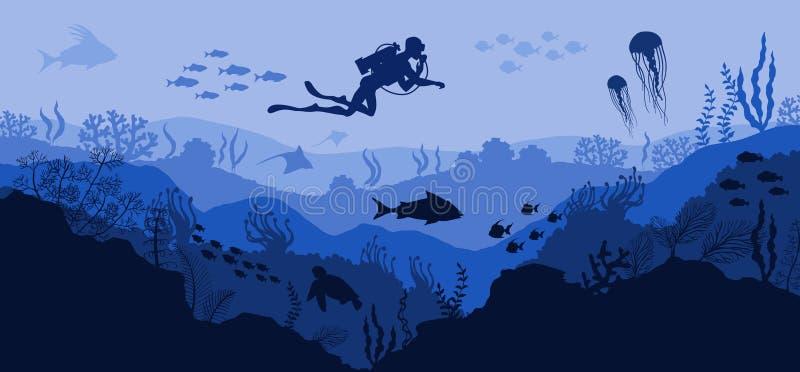 Barriera corallina ed operatore subacqueo subacqueo della fauna selvatica sul fondo blu del mare illustrazione di stock