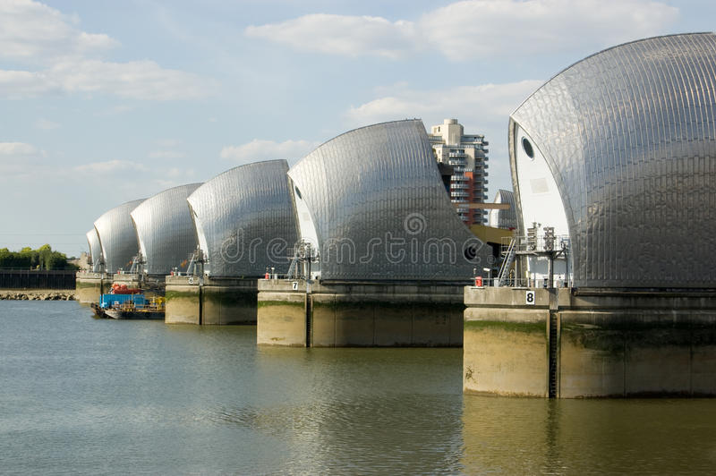 Barriera del Tamigi, Greenwich, Londra fotografie stock