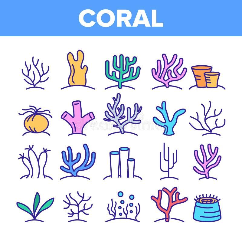 Barriere coralline ed insieme lineare delle icone di vettore dell'alga royalty illustrazione gratis
