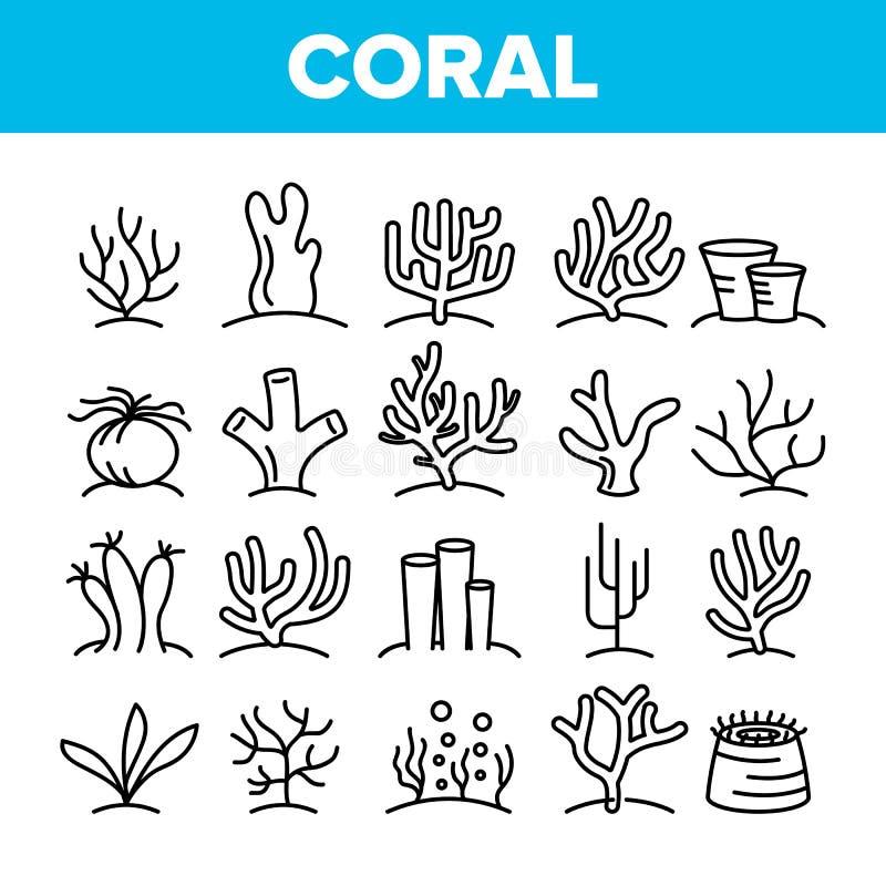 Barriere coralline ed insieme lineare delle icone di vettore dell'alga illustrazione vettoriale