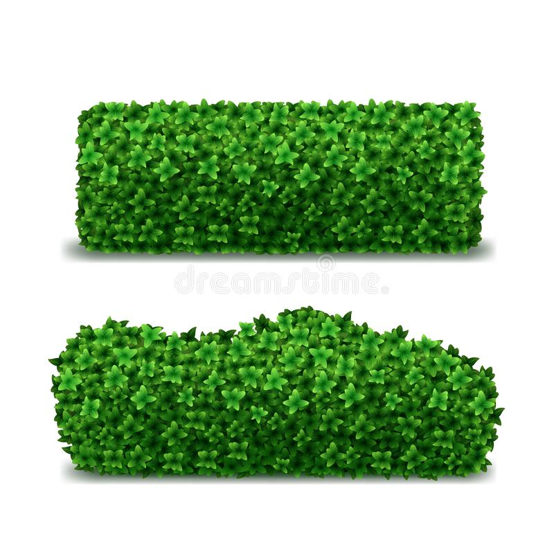 Barriere dettagliate realistiche di verde 3d messe Vettore royalty illustrazione gratis