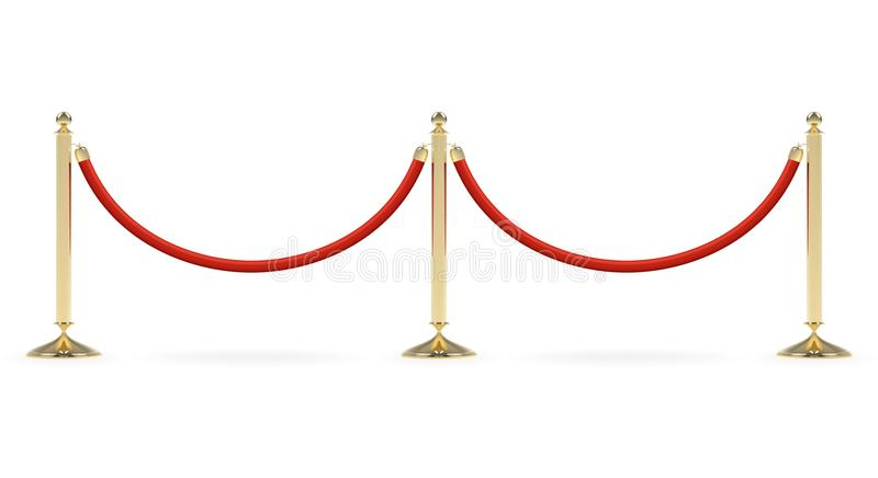 Barriers with red rope. Line. Red carpet event enterance gate. VIP zone, closed event restriction. Realistic image of golden poles with velvet rope. Isolated on stock illustration
