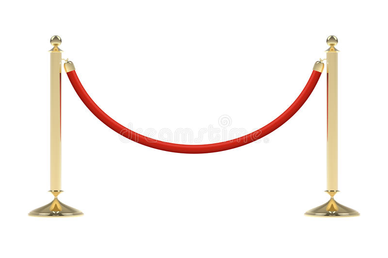 Barriers with red rope. Red carpet event enterance gate. VIP zone, closed event restriction. Realistic image of golden poles with velvet rope. Isolated on stock illustration