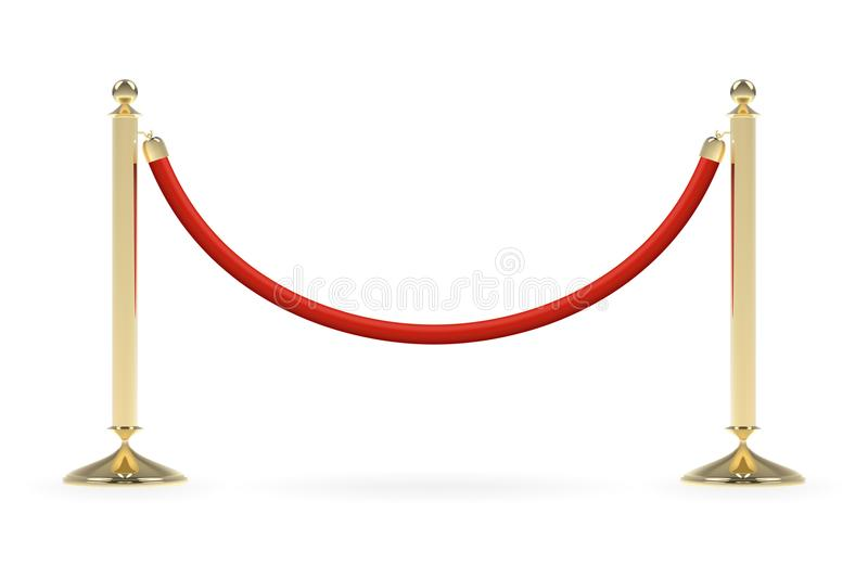 Barriers with red rope. Red carpet event enterance gate. VIP zone, closed event restriction. Realistic image of golden poles with velvet rope. Isolated on vector illustration