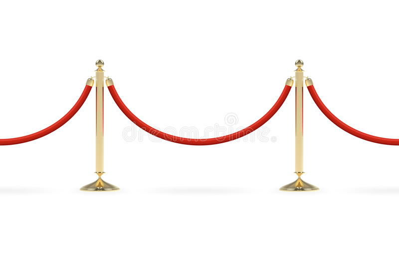 Barriers with red rope. Seamless line. Red carpet event enterance. VIP zone, closed event restriction. Realistic image of golden poles, velvet rope. Isolated on stock illustration