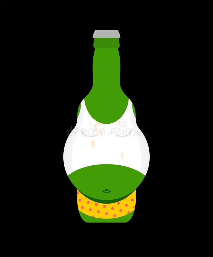 Barriga de cerveja na garrafa isolada Ilustração do vetor do álcool ilustração stock
