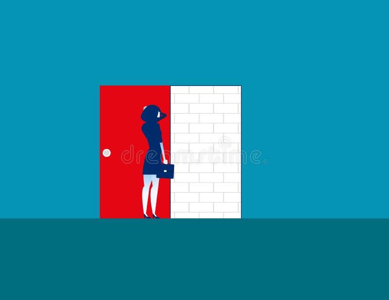 barrikaden Affärskvinna med tegelstenväggen Begreppsaffärsvektor stock illustrationer