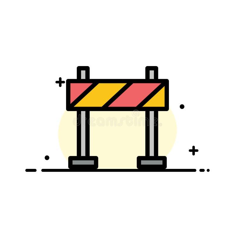 Barrikaden barriären, plan linje för konstruktionsaffär fyllde mallen för symbolsvektorbanret royaltyfri illustrationer