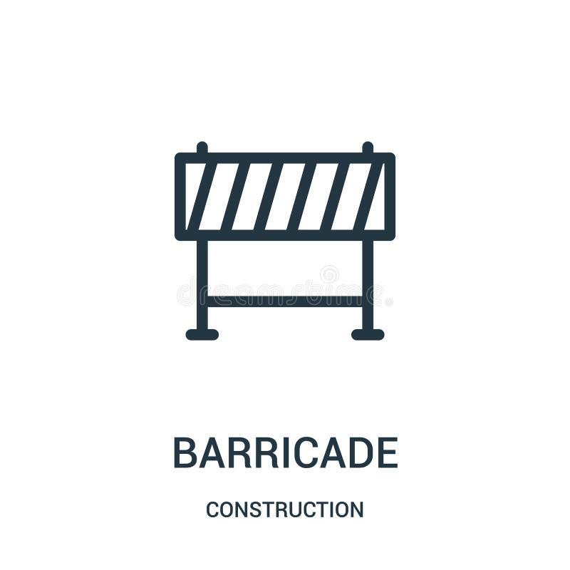 barrikadsymbolsvektor från konstruktionssamling Tunn linje illustration för vektor för barrikadöversiktssymbol royaltyfri illustrationer