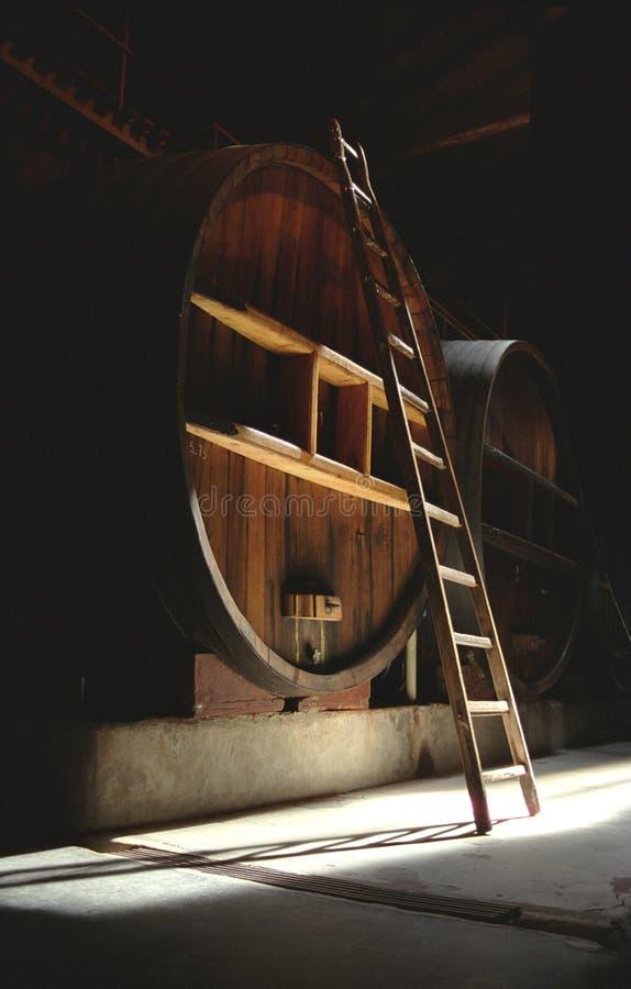Barril & escada na adega escura foto de stock