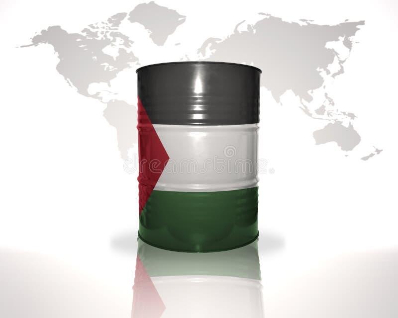 barril con la bandera palestina en el mapa del mundo stock de ilustración