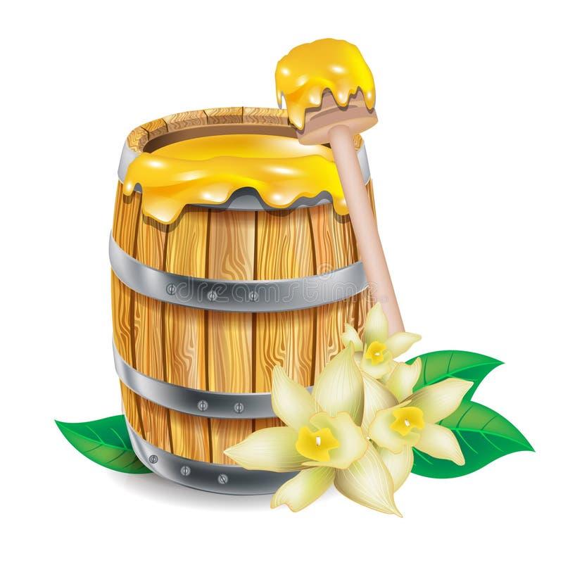 Barril con la miel ilustración del vector