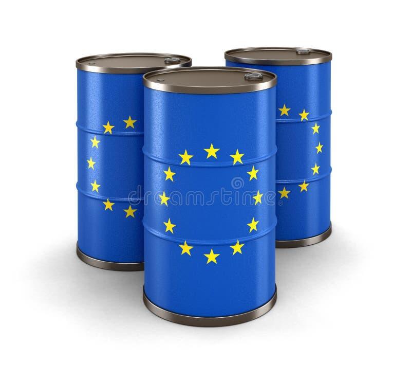 Barril de aceite con la bandera de la unión europea libre illustration