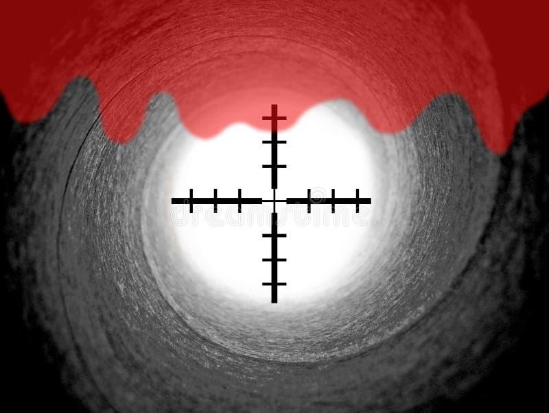 Barril de arma de James Bond con vistas del retículo imagen de archivo