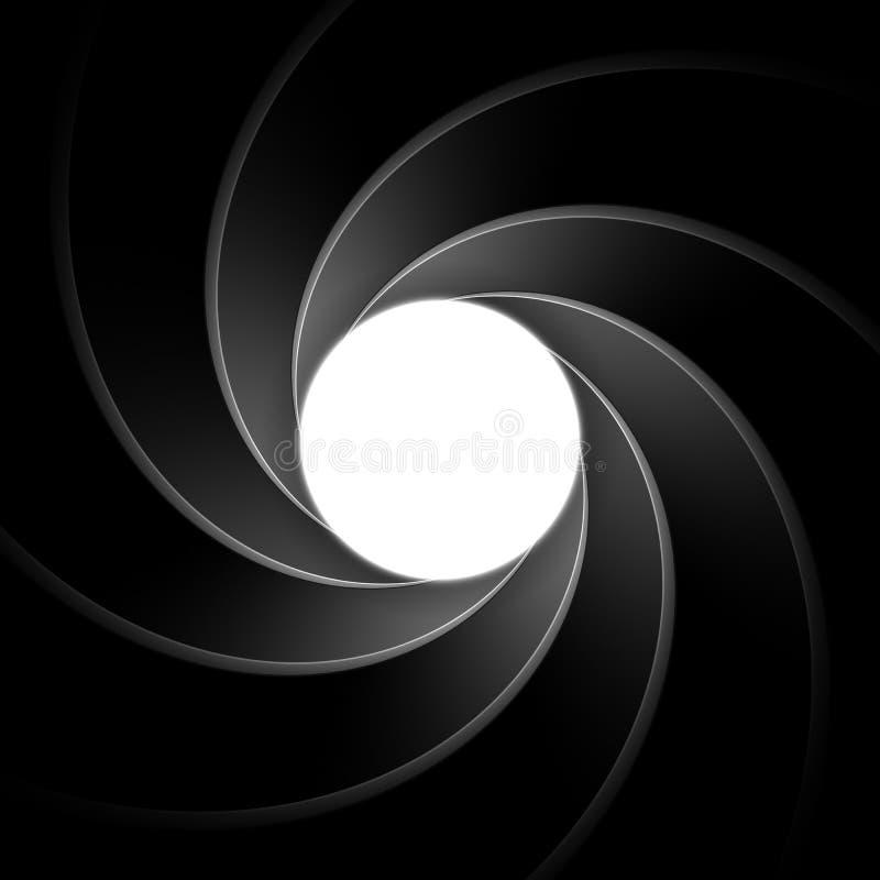 Barril de arma interior James Bond clásico, tema del agente 007 ilustración del vector