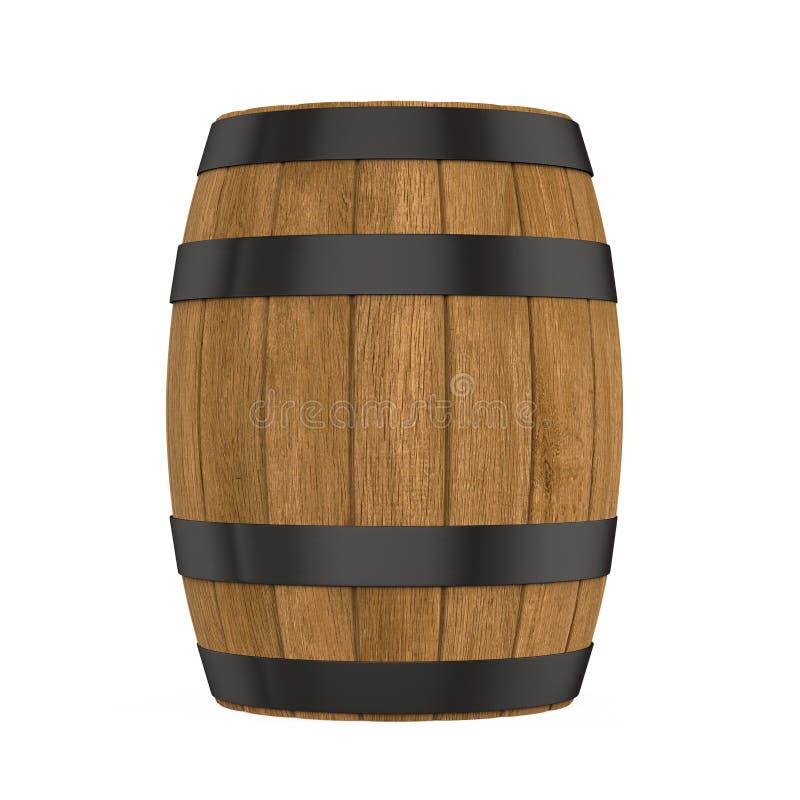 Barril de madera aislado stock de ilustración