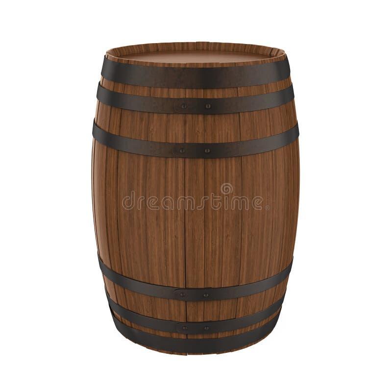 Barril de madera aislado ilustración del vector