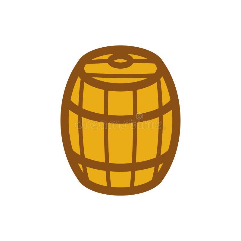 Barril de madera aislado ejemplo del vector del barril barrilete de madera libre illustration