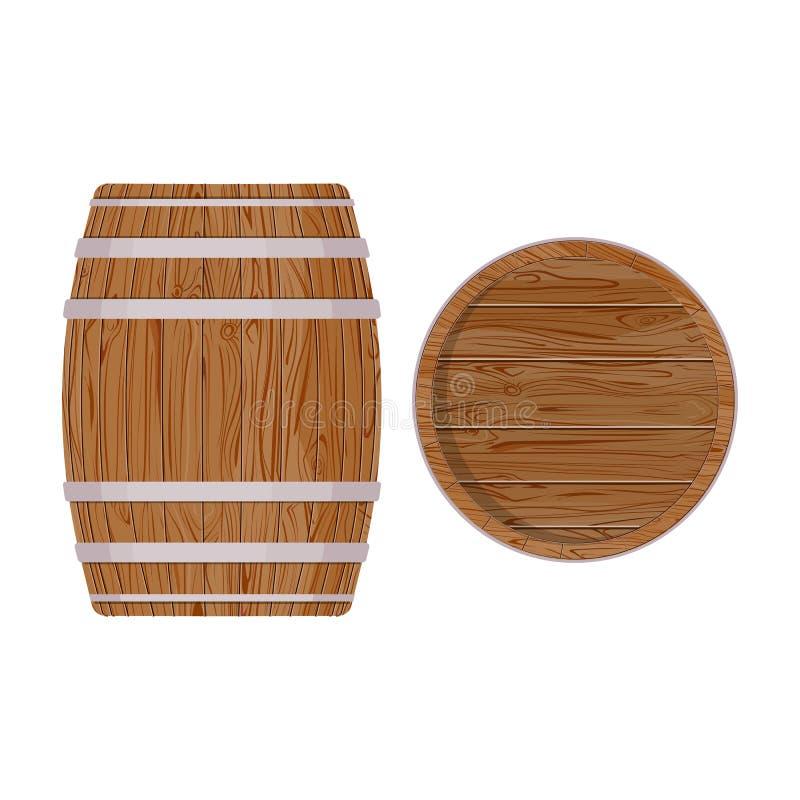 Barril de madera con los anillos del hierro Aislado en el fondo blanco Cerveza de madera del vector libre illustration