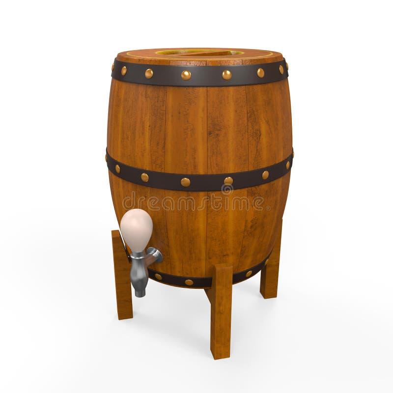 Barril de madera de la cerveza stock de ilustración