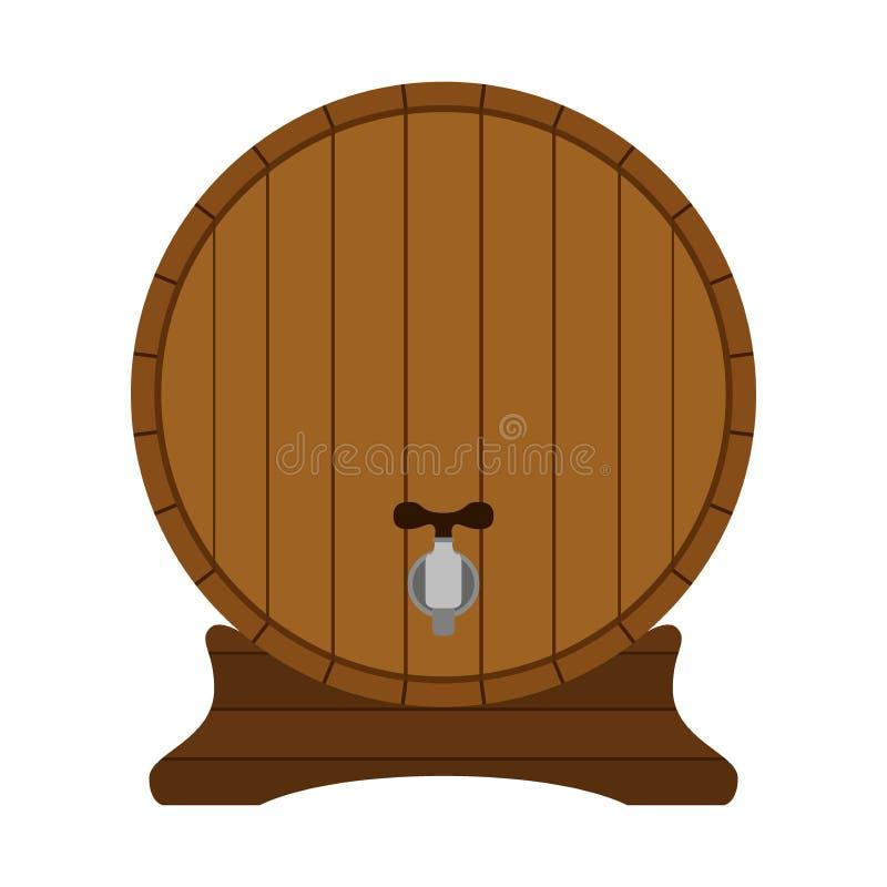 Barril de madera de la historieta en estilo plano Envase, el tanque para el ron, vodka stock de ilustración