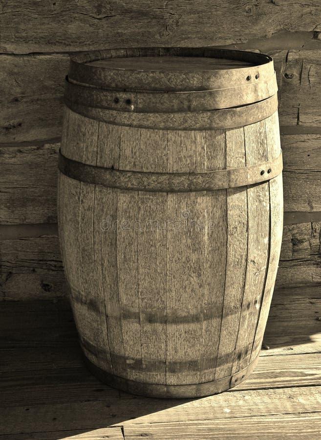 Barril de madera del almacenamiento en Sepia-tono imagen de archivo libre de regalías