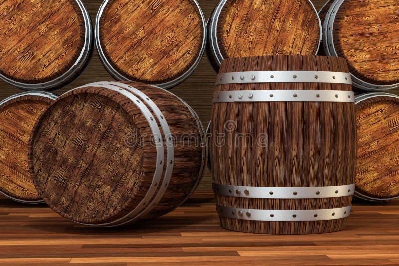 Barril de madera del lagar con el fondo caliente del color, representaci?n 3d libre illustration