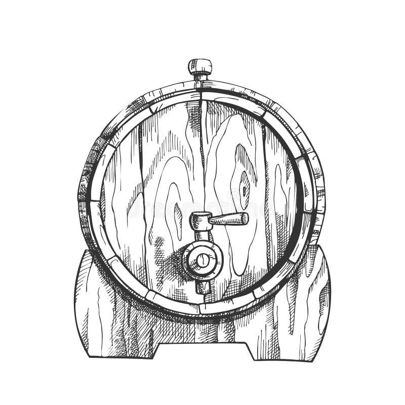 Barril de madera exhausto Front View Vector del roble de la cerveza stock de ilustración