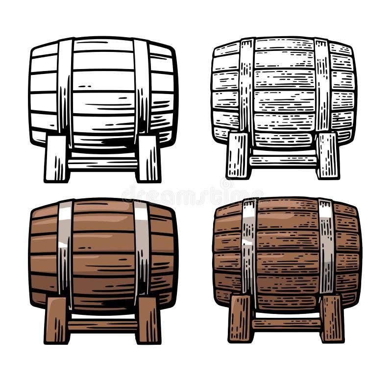 Barril de madera Grabado del vintage del color y del negro y ejemplo plano ilustración del vector