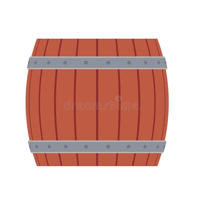 Barril de madera de la bebida de la cerveza del ejemplo del vector del barril Envase viejo del marrón del barrilete del alcohol d ilustración del vector