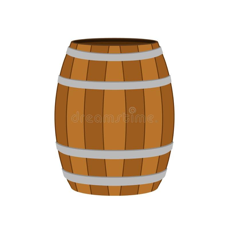 Barril de madera para el vino, cerveza, ron, coñac, alcohol Estilo plano ilustración del vector
