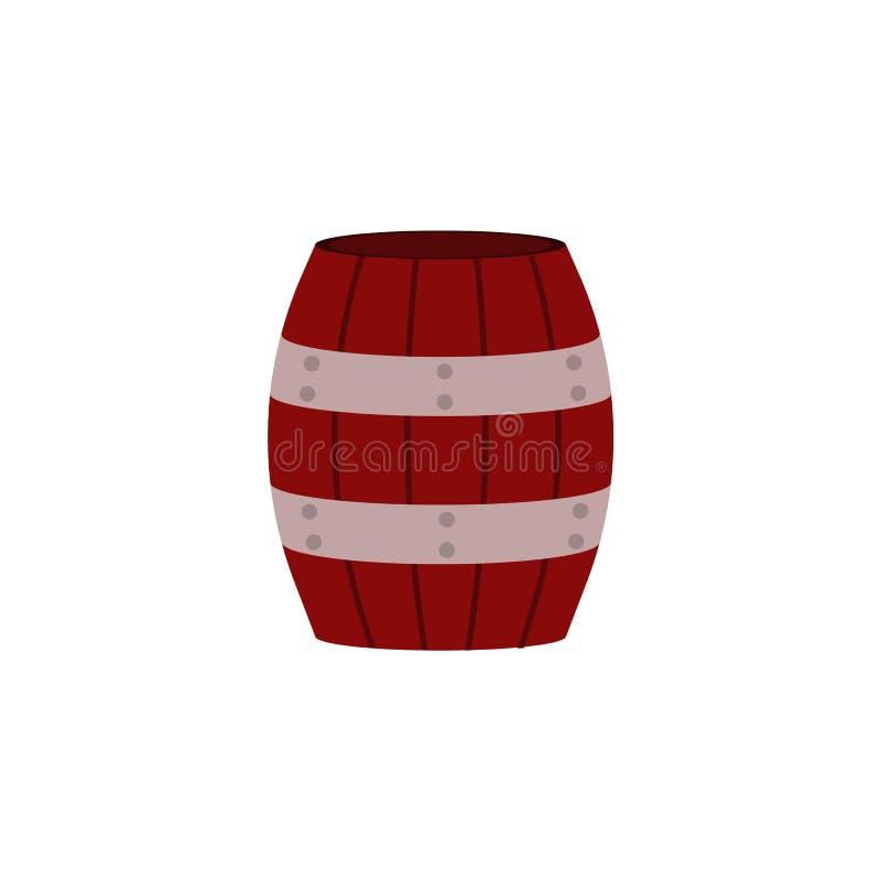 Barril de madera rojo con los aros del metal para el almacenamiento de los líquidos o de los materiales a granel aislados en el f stock de ilustración