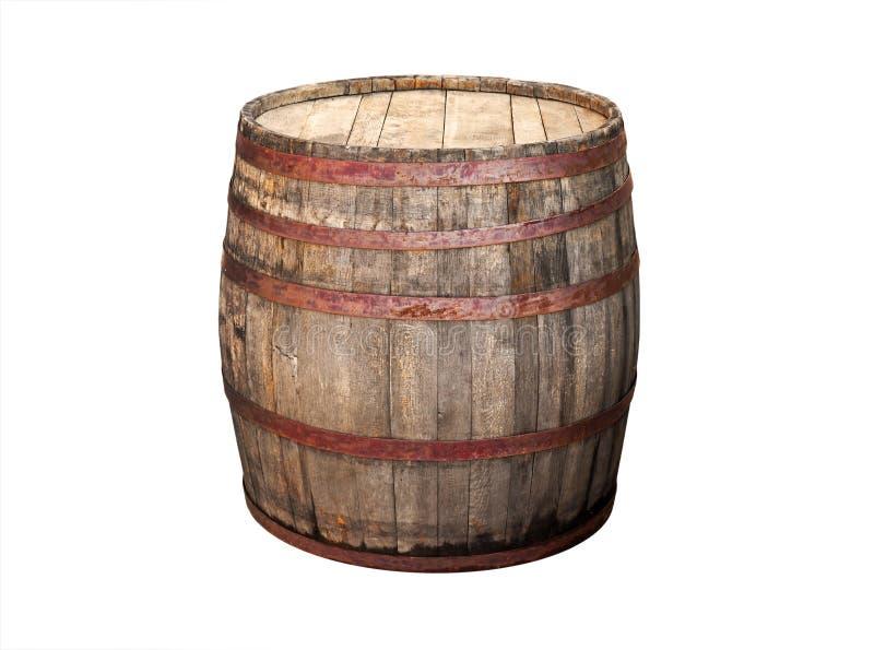 Barril de madera viejo aislado en blanco imagen de archivo libre de regalías