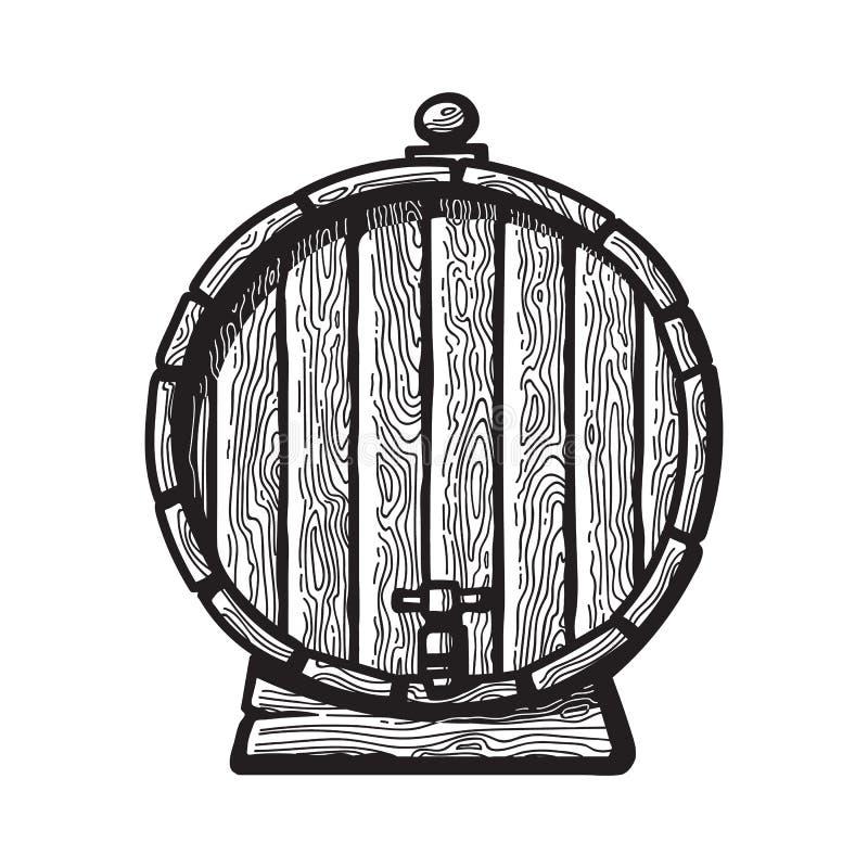 Barril de madera viejo con un golpecito en estilo del grabado Ejemplos dibujados mano blanco y negro del vector Vista delantera d stock de ilustración